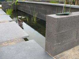 Kleine tuin met waterpartij